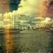Foto Stock: Vintage distressed photo: sailboats