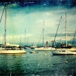 Vintage distressed photo: sailboats — Stok Fotoğraf #34554991
