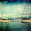 Zdjęcie stockowe: Vintage distressed photo: sailboats