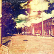 Distressed vintage grungy photo of a street in Cuenca, Ecuador — Stock Photo