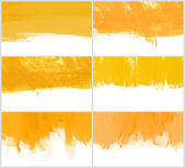 Set of 6 yellow hand-painted brush stroke daub backgrounds — Zdjęcie stockowe