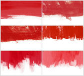 Set of 6 red hand-painted brush stroke daub backgrounds — Zdjęcie stockowe