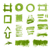 Set of green hand painted brush strokes, daubs, frames, textures and arrows — Stock Photo