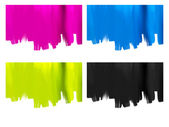 Paint brush strokes backgrounds set isolated on white - cyan magenta yellow black — Stock Photo