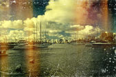 Vintage distressed photo: sailboats — Stock Photo