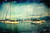 Vintage distressed photo: sailboats — Stok fotoğraf