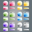 Set of glossy colorful assorted vector badges and buttons — Grafika wektorowa