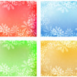 Stock Vector: Abstract warm floral subtle soft backgrounds set