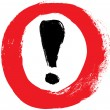 Red vector hand-painted exclamation - warning - danger sign - icon in a circle — Stock Vector
