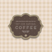 Vector vintage cardboard die-cut coffee label over a cute beige background — Vecteur