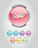 Round metallic glassy badges - buttons collection — Stock Vector