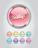 Round metallic glassy badges - buttons collection — Stok Vektör