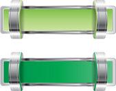 Distintivo de vetor verde cromo metálico brilhante com suportes — Vetor de Stock