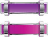 Purple shiny metallic chrome vector badge with brackets — Stock Vector