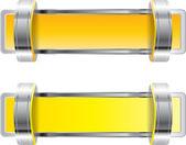 Yellow shiny metallic chrome vector badge with brackets — Stock Vector