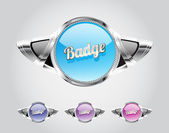 Retro automotive styled metallic glassy badges collection — Stock Vector