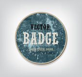 Vector vintage blue round weathered cardboard badge — Stock Vector