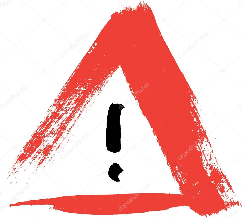 red hand painted exclamation warning danger triangle traffic sign icon stock vector. Black Bedroom Furniture Sets. Home Design Ideas