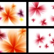 Abstract stylized red vector flowers set. — Stock Vector
