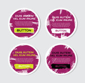 Four purple vector grungy round paper stickers — Stock Vector