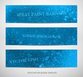 Peinture en aérosol bleu texture grungy bannières — Vecteur