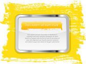 Yellow vector glossy glass banner with metallic frame on a hand-painted daub background — Stok Vektör