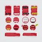 Набор красный вектор шероховатый бумажные наклейки, этикетки, теги и баннеры — Cтоковый вектор #34739719