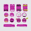 A set of purple vector grungy paper stickers, labels, tags and banners — Stock Vector