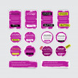 A set of purple vector grungy paper stickers, labels, tags and banners — Stock Vector #34739983