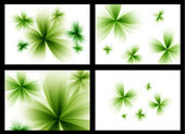 Abstract stylized green vector flowers set. — Stock Vector