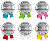 Set of gray vector glossy glass round badges - banners — 图库矢量图片