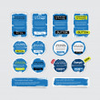A set of blue vector grungy paper stickers, labels, tags and banners — Stock Vector