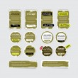 Постер, плакат: A set of khaki vector grungy paper stickers labels tags and banners