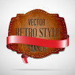 Vector vintage used worn leather die cut banner with red silky ribbon — Stock Vector