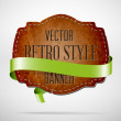 Vector vintage used worn leather die cut banner with green silky ribbon — Stock Vector