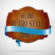Vector vintage used worn leather die cut banner with blue silky ribbon — Stock Vector