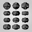 Vector set of vintage black glossy plastic labels for christmas, birthday, valentine's day, restaurant menu — Image vectorielle