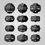 Vector set of vintage black glossy plastic labels for christmas, birthday, valentine's day, restaurant menu — Stock Vector