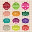 Vector set of vintage paper labels for christmas, birthday, valentine's day, restaurant menu — Stok Vektör