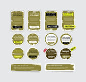 A set of khaki vector grungy paper stickers, labels, tags and banners — Stock Vector