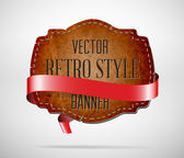 Vector vintage used worn leather die cut banner with red silky ribbon — Vector de stock