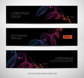 Abstract black banners with colorful dynamic waves background — Vecteur