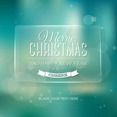Vector vintage soft blurry teal christmas greeting card — Stock Vector