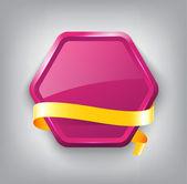 Purple vector glossy hexagonal plastic badge with yellow silky ribbon — Vector de stock