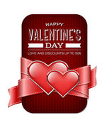 Vector valentine's day banner with silky ribbon and two glossy hearts — Stockvektor