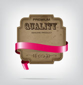 Vector vintage style die cut cardboard banner with red decorative ribbon — 图库矢量图片