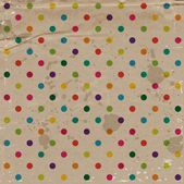 Vector cute decorative colorful dotted pattern over a grungy old worn craft paper — Stock Vector