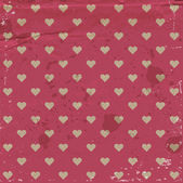 Vector old pink dirty paper vintage background with hearts pattern — Stock Vector