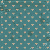 Vector old blue craft paper vintage background with hearts pattern — Stockvektor