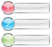 One two three steps vector light glossy banners — Stock Vector